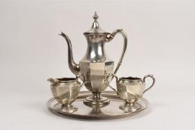 P.S. Co. Sterling Tea Set & Preisner Sterling Tray