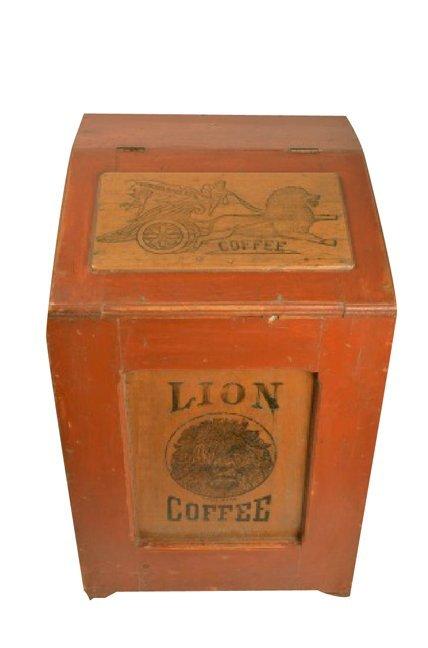 RARE Woolson Spice Co. Lion Coffee Adv. Bin