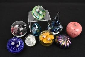 (9) Art Glass Paperweights - Elwood, Jablonski