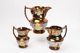 (3) English Copper Lusterware Pitchers Floral