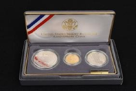 1991 Mount Rushmore Ann. 3-Coin Proof Set $5 Gold