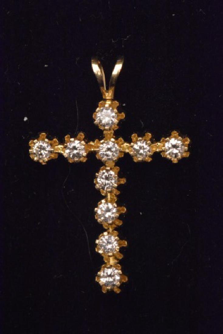 14K Yellow Gold Cross Pendant W/ .40CTW