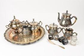 Forbes Silver Co. Quadruple Plate Tea Set & Other