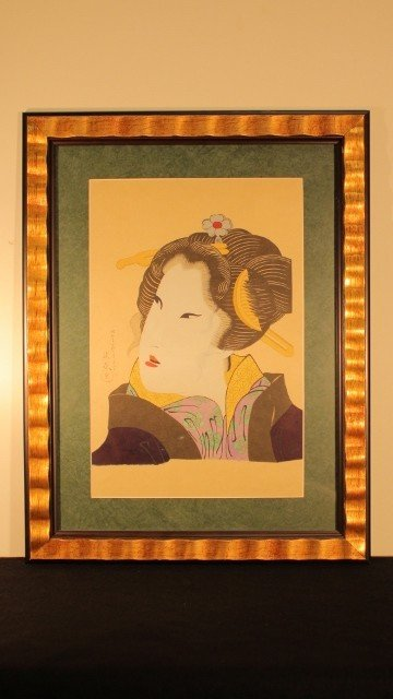 1: Block framed Geisha woman  19x25 flowers around neck