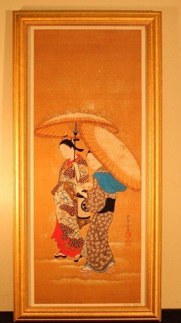 6: framed 2 geisha woman w/umbrellas