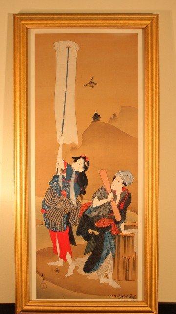 7: framed 2 geisha woman 1 holding a flag