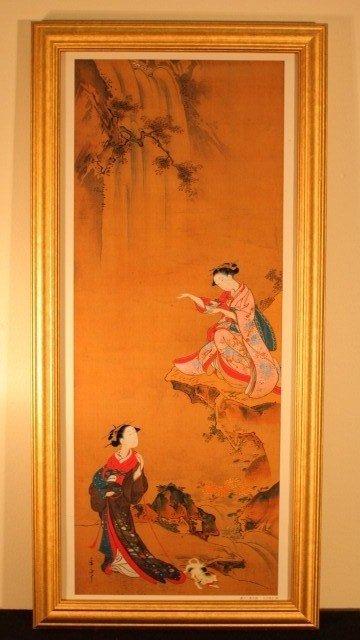 10: framed 2 geisha woman 1w/dog