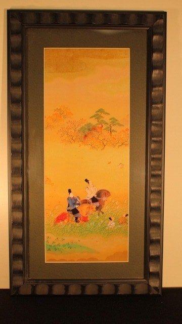 12: framed blk, 4 japanese 2 on horses