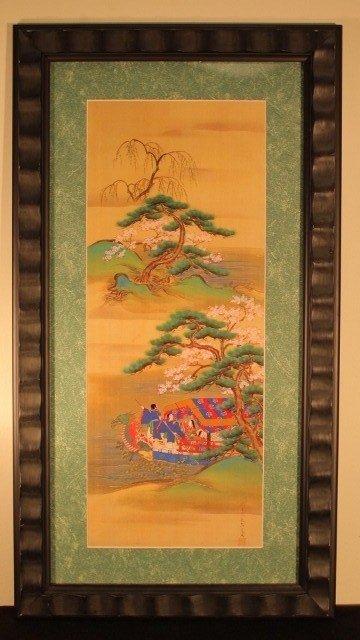 14: framed blk, 15x29 4 japanese on red blue boat