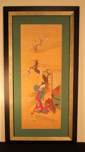 15: framed 15x29 2 geisha woman 1 sitting