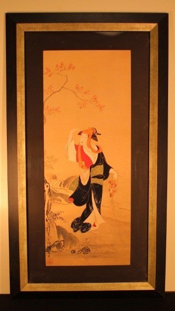 16: framed 15x29 geisha woman holding mushrooms