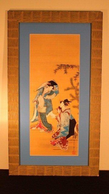 17: framed 30x16 2 geisha woman wearing blk hats