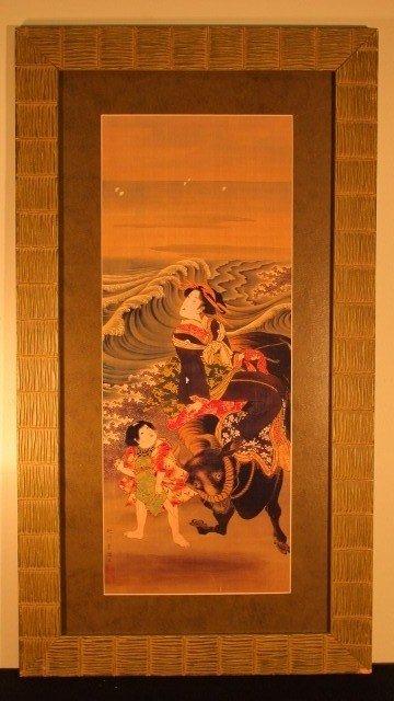 18: framed block geisha woman on bull