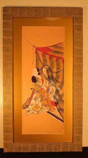 20: framed block 16x30 geisha woman in tent