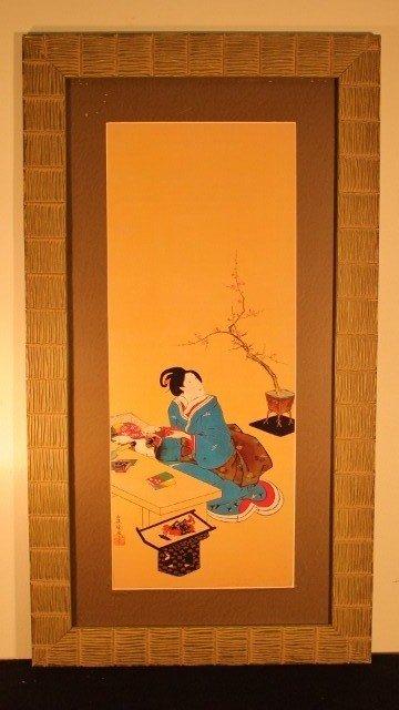 21: framed block geisha woman looking at tree 16x30