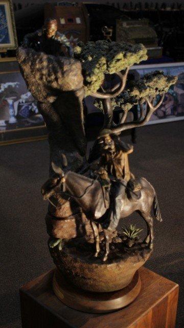 135: Gray Wolf Followers By Clyde Ross Morgan Bronze ed
