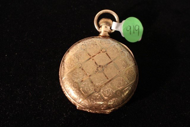 262: 10kt 148.40g yellow Rockford folding pocket watch