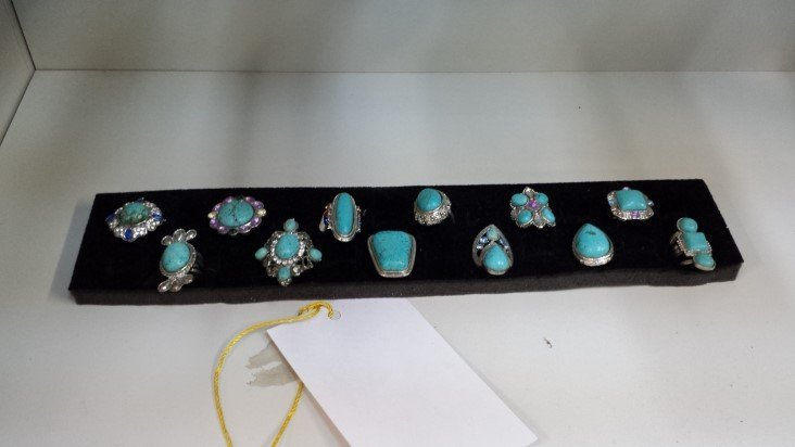 Rack of 12 Turquoise Rings Misc Sizes
