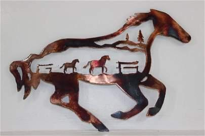 Handmade Metal Wall Art Horses within Horse