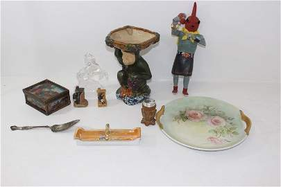 Box Lot- Hand Painted cake plate misc items