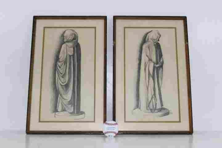 Pair Framed Original Charcoal Sketches signed