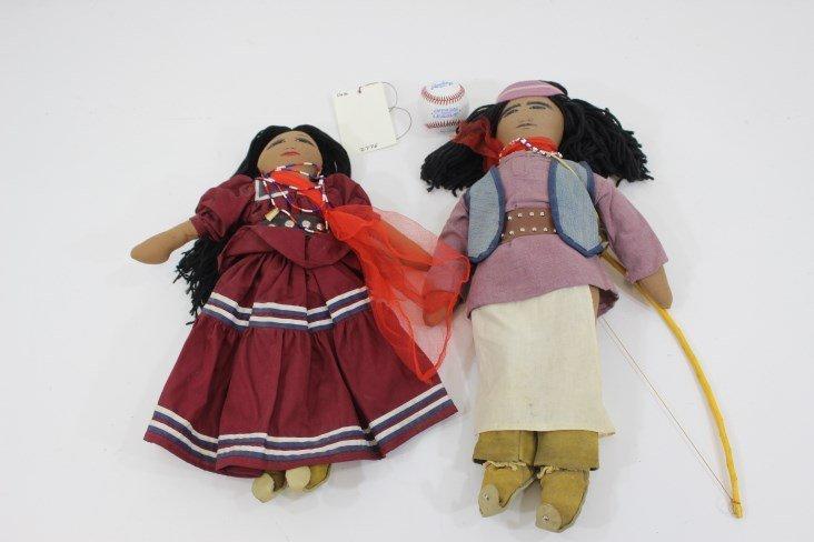 Pair of vintage handmade Indian Kachina Dolls
