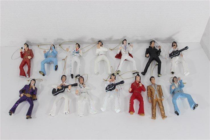 14 Ceramic Elvis Christmas Ornaments