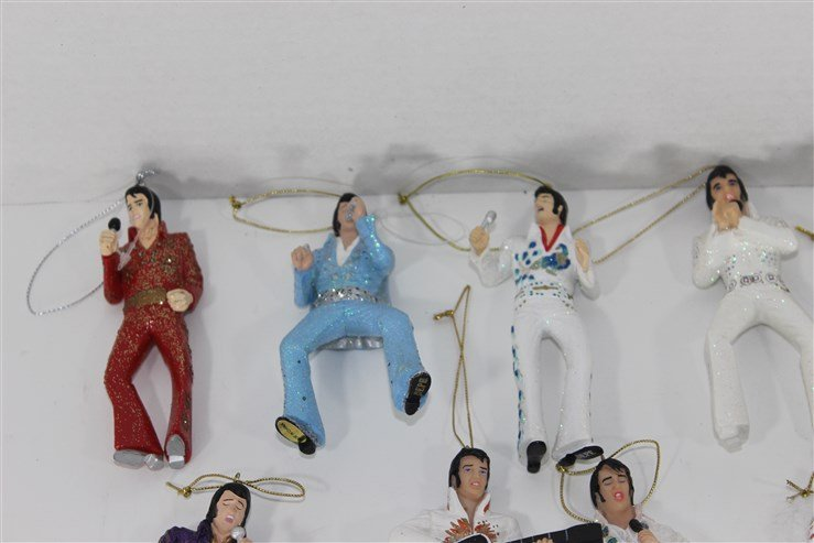 14 Ceramic Elvis Christmas Ornaments - 2