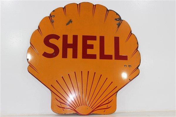 1935 Authentic Shell Gasoline Porcelain Sign