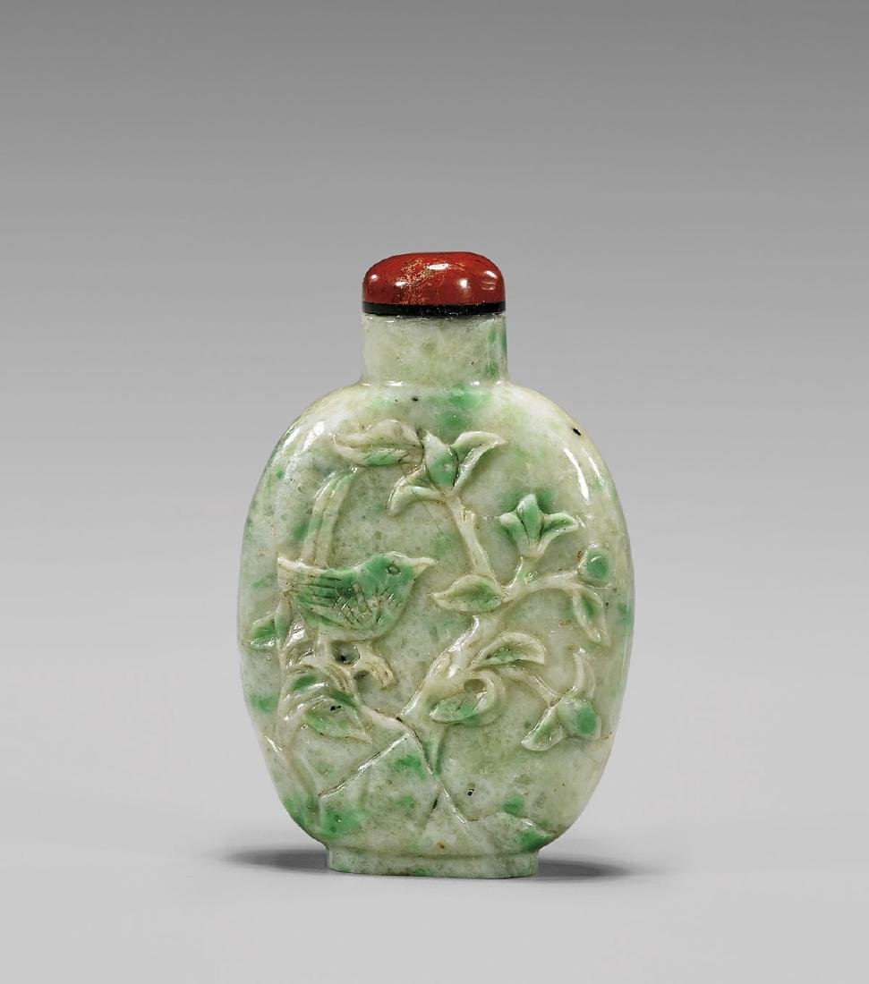 ANTIQUE CARVED JADEITE SNUFF BOTTLE