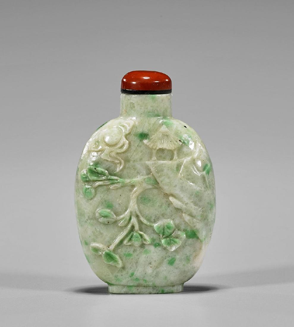 ANTIQUE CARVED JADEITE SNUFF BOTTLE - 2