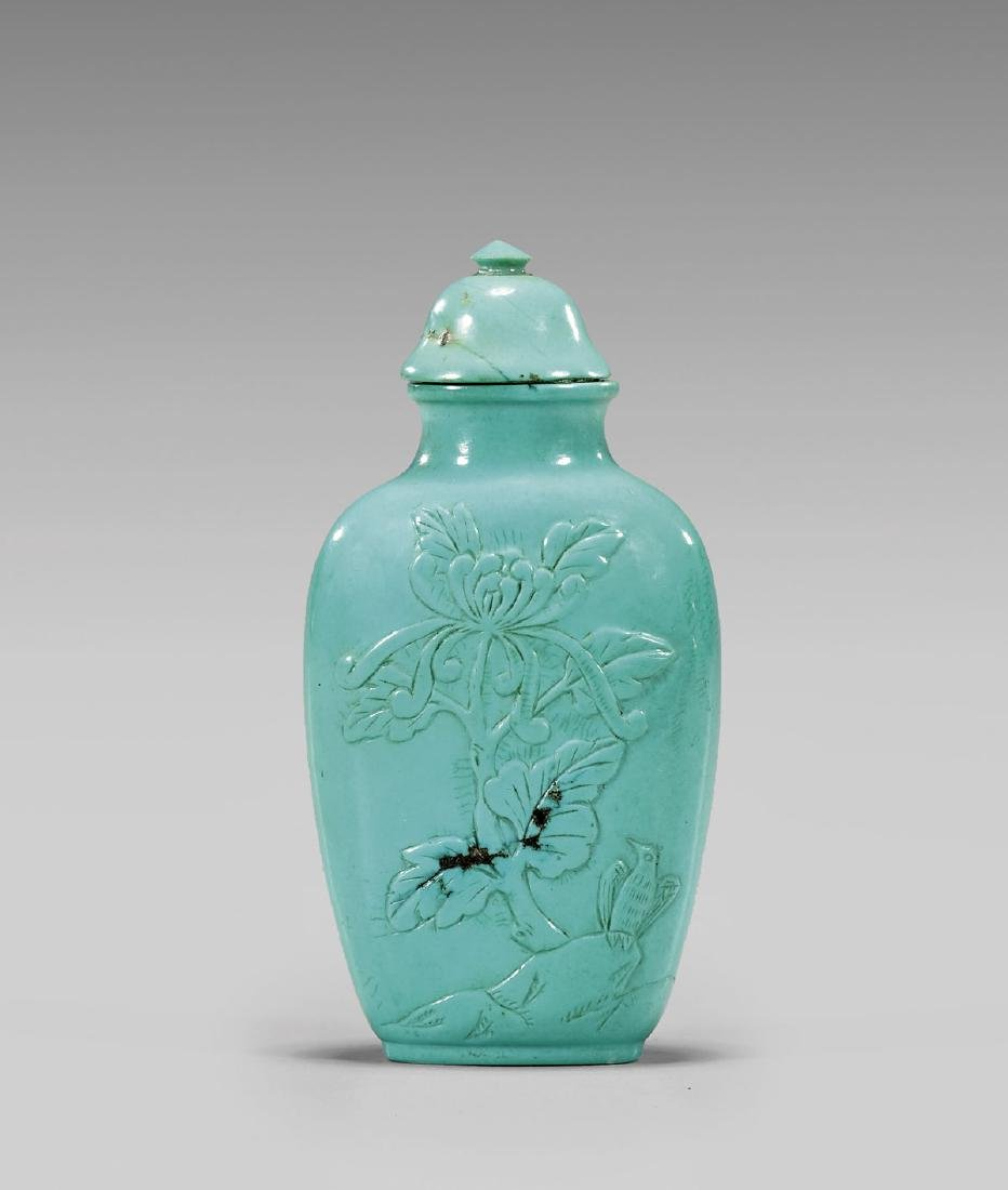 OLD CARVED TURQUOISE SNUFF BOTTLE