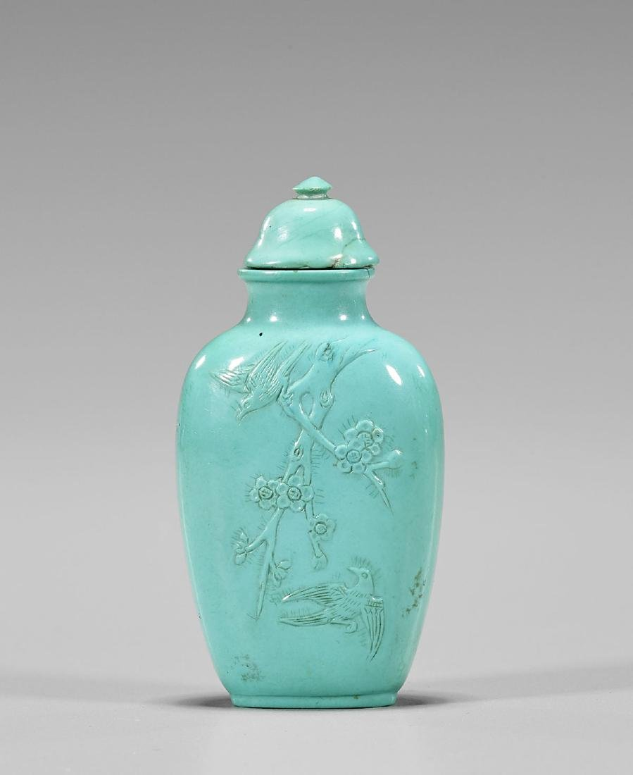 OLD CARVED TURQUOISE SNUFF BOTTLE - 2