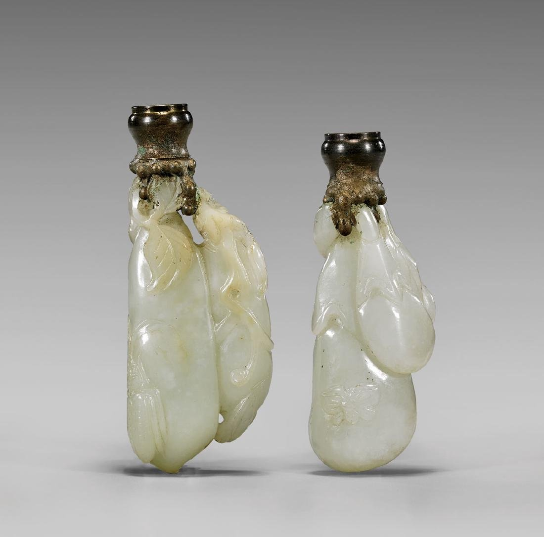 TWO ANTIQUE WHITE JADE CARVINGS/FINIALS