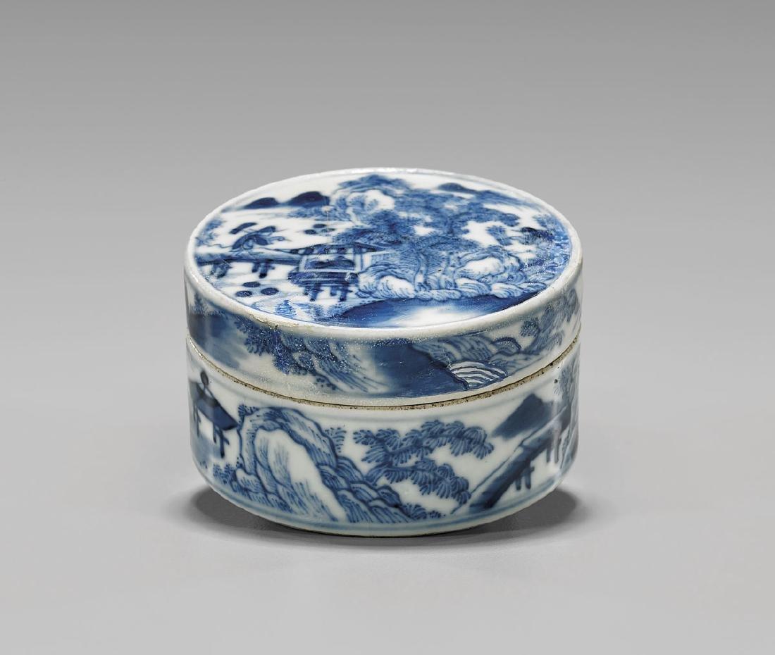 ANTIQUE BLUE & WHITE PORCELAIN COVERED BOX