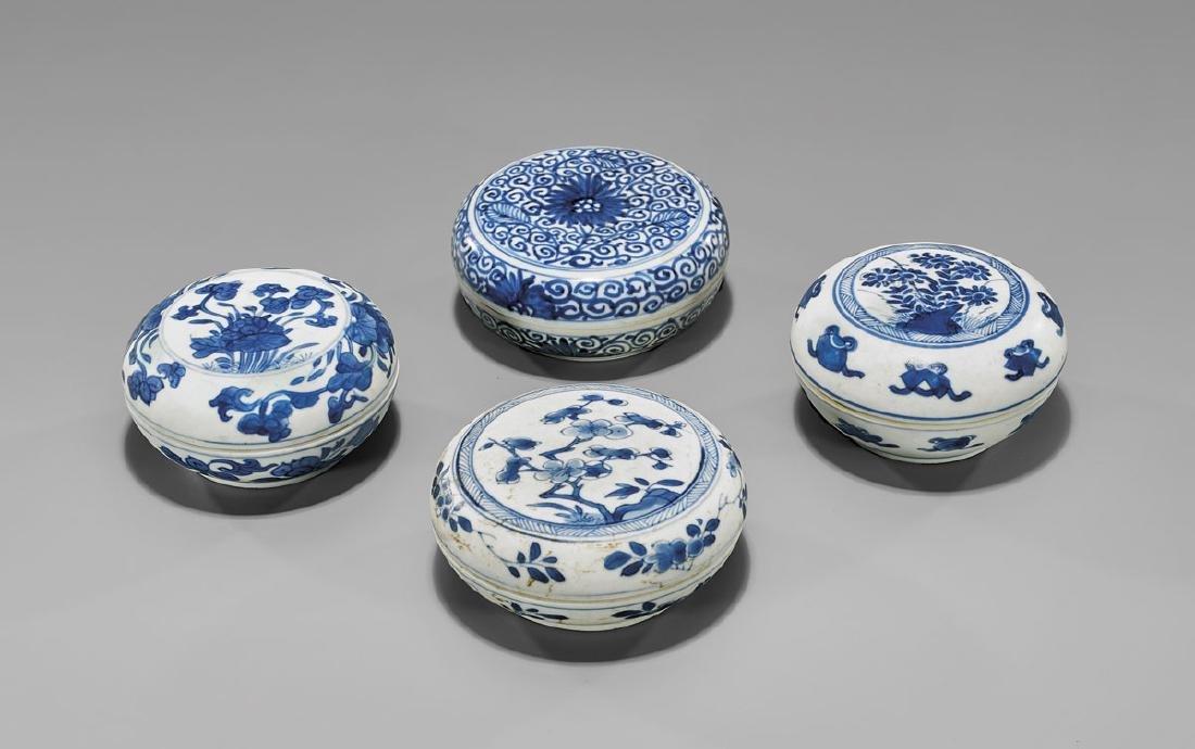FOUR ANTIQUE BLUE & WHITE SHIPWRECK PORCELAIN BOXES