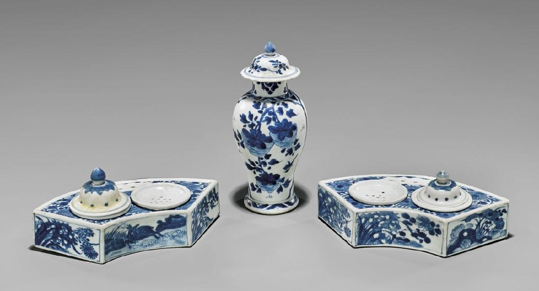 FIVE ANTIQUE BLUE & WHITE PORCELAINS