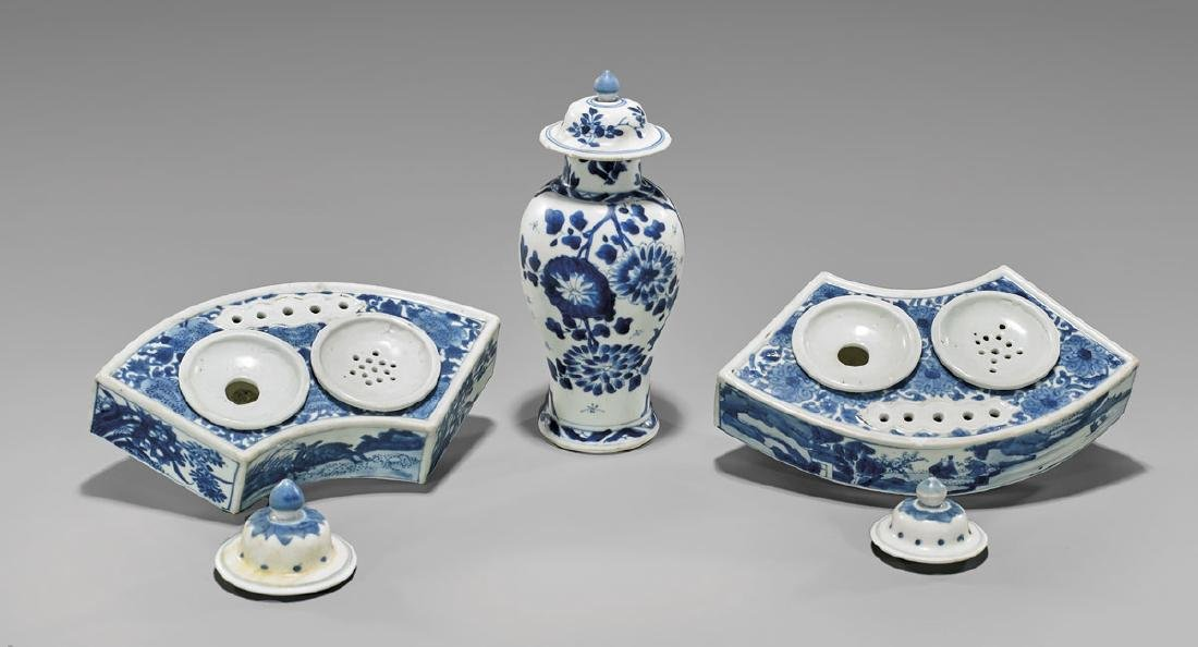 FIVE ANTIQUE BLUE & WHITE PORCELAINS - 2