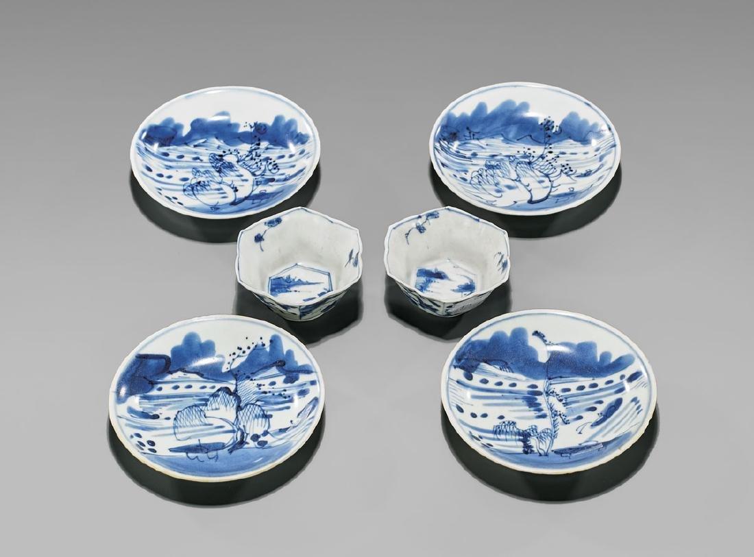 SIX ANTIQUE BLUE & WHITE SHIPWRECK PORCELAINS: Saucers