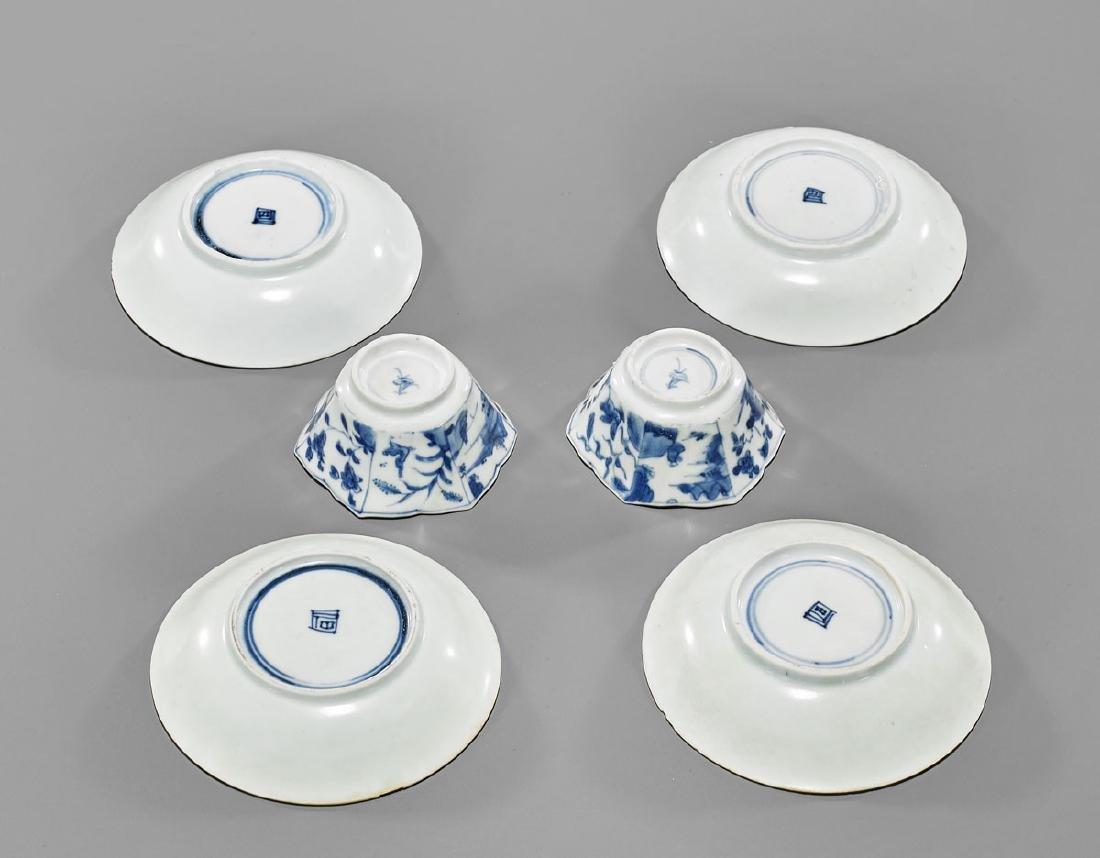 SIX ANTIQUE BLUE & WHITE SHIPWRECK PORCELAINS: Saucers - 2