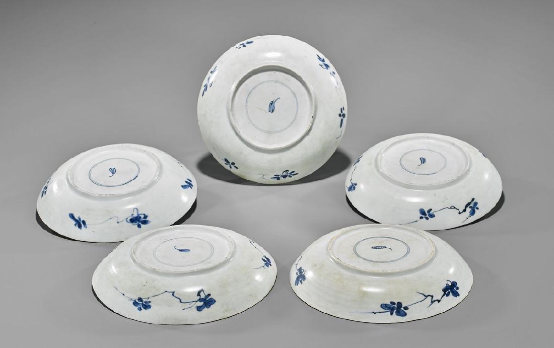 FIVE ANTIQUE BLUE & WHITE SHIPWRECK PORCELAIN DISHES - 2