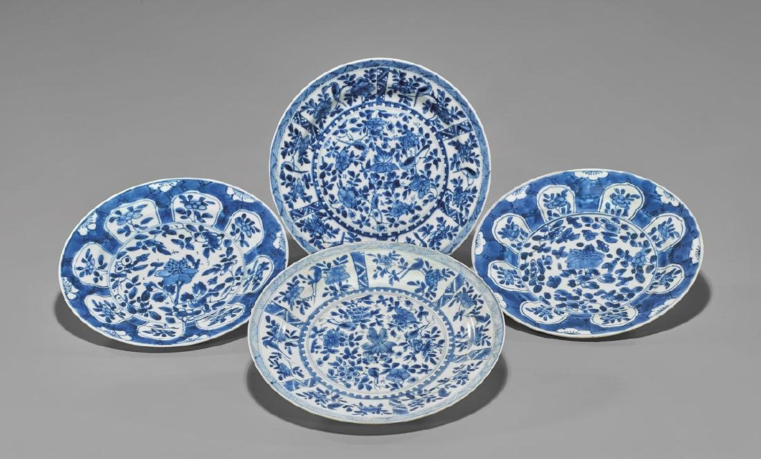 FOUR ANTIQUE BLUE & WHITE SHIPWRECK PORCELAIN DISHES