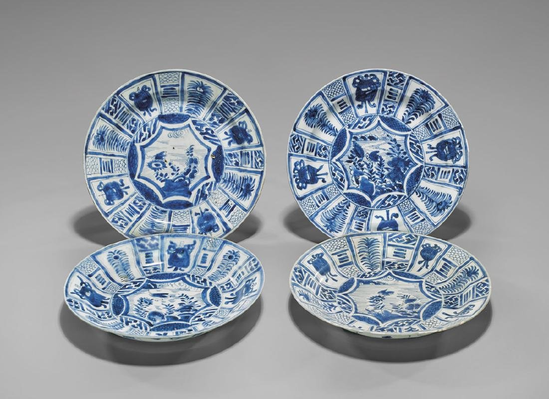 FOUR ANTIQUE BLUE & WHITE SHIPWRECK KRAAK WARE DISHES