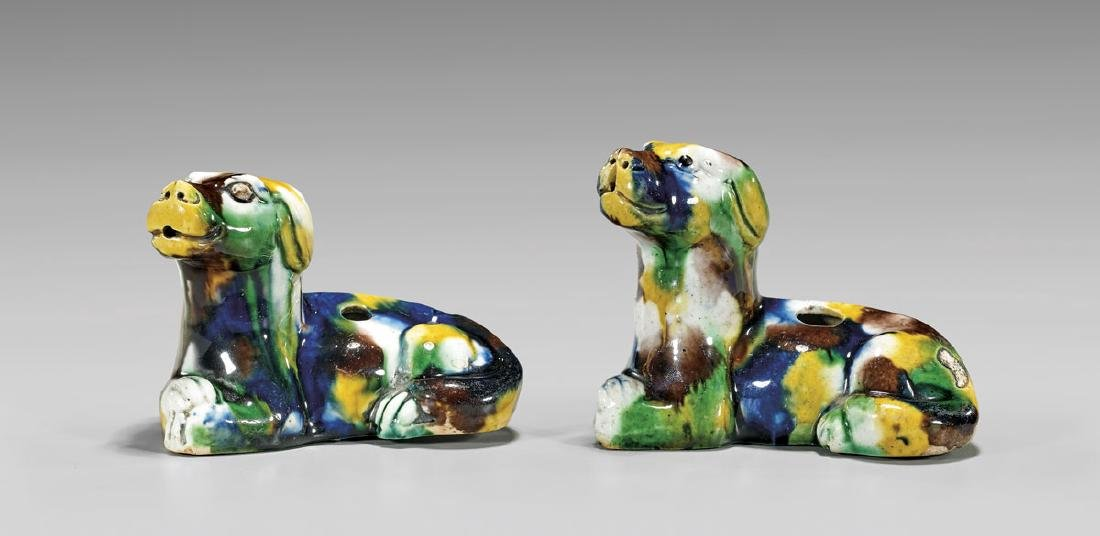 PAIR KANGXI PERIOD GLAZED WATERDROPPERS
