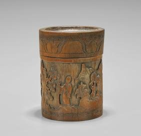 ANTIQUE BAMBOO COVERED BRUSHPOT