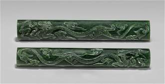 PAIR SPINACH JADE SCROLL WEIGHTS