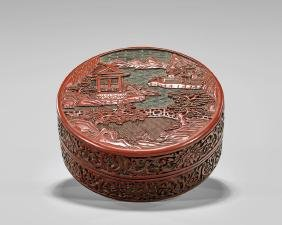 ANTIQUE CINNABAR LACQUER COVERED BOX