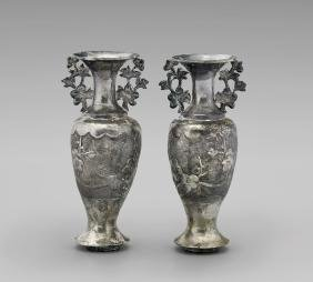 PAIR ANTIQUE CHINESE EXPORT SILVER VASES