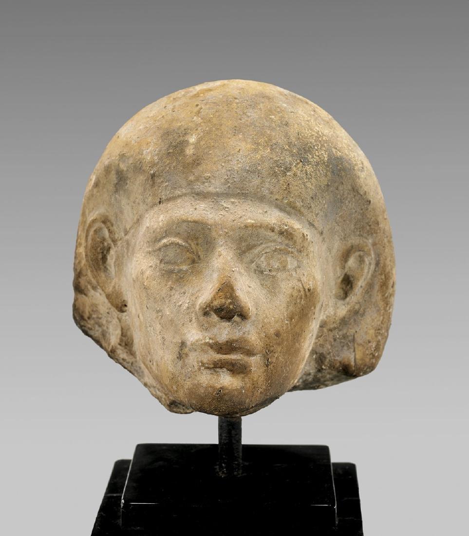 EGYPTIAN CARVED LIMESTONE HEAD