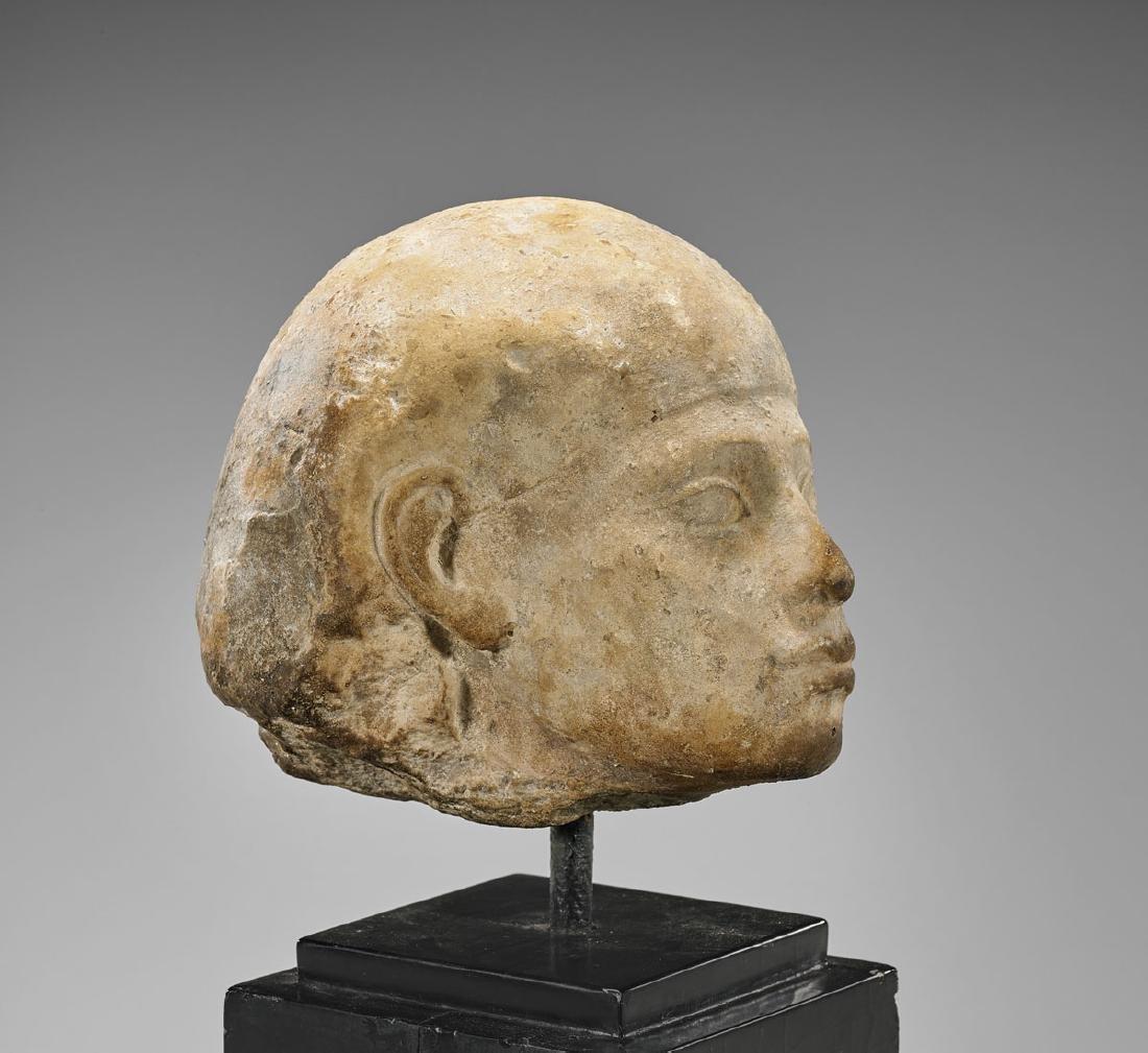 EGYPTIAN CARVED LIMESTONE HEAD - 2